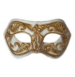 Colombina Maske Weiss mit goldenem Ornament