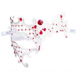 Filigranmaske Weiß mit roten Kristallelementen 'Dinora'