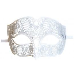 Venezianische Metall Maske Herren Weiß