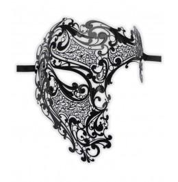 Venezianische Halbmaske Schwarz Metall 'Phantom'
