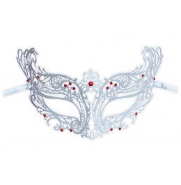 Venezianische Maske aus Metall Weiß 'Vanessa'