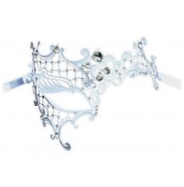 Weiße Filigranmaske mit Kristallelementen 'Dinora'
